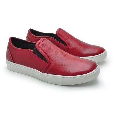 Slip On Yate Masculino Stratus Vermelho em Couro - 07804-2118 - Calçados Laroche
