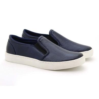 Slip On Yate em Couro Masculino Stratus Azul - 07804-2119 - Calçados Laroche