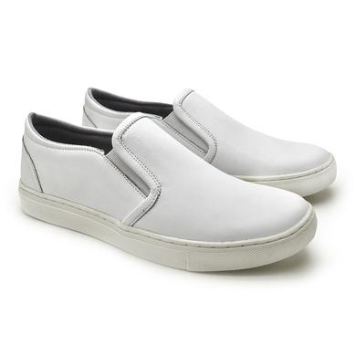Slip On Yate Masculino Stratus Branco em Couro - 07804-2273 - Calçados Laroche