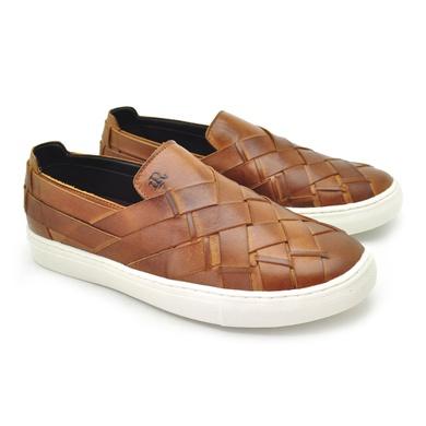 Slip em Couro Stratus Masculino Tan - 07816-2821 - Calçados Laroche
