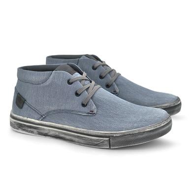 Sapatenis Botinha Stratus Eco Masculino em Lona Azul Jeans - 07831-2415 - Calçados Laroche