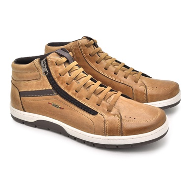 Sapatenis Zurick Masculino em Couro Areia - 04004-1944 - Calçados Laroche