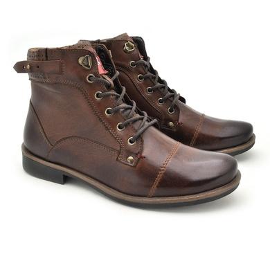 Bota Montana Masculina em Couro Whisky/Chocolate - 04704-2596 - Calçados Laroche