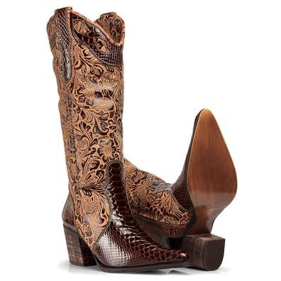 Bota Texana Feminina Bico Fino Couro Anaconda Nesc... - JMCOUNTRY