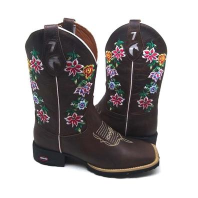 Bota Country Feminina Texana Bico Quadrado Couro C... - JMCOUNTRY