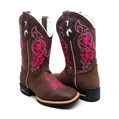 Bota Country Texana Feminina Bico Quadrado Café So... - JMCOUNTRY