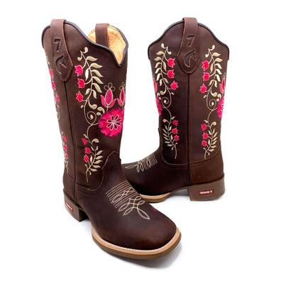 Bota Texana Feminina Bico Quadrado Flores Couro Ca... - JMCOUNTRY