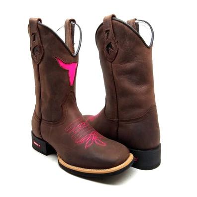 Bota Texana Feminina Bico Quadrado Touro Couro Caf... - JMCOUNTRY