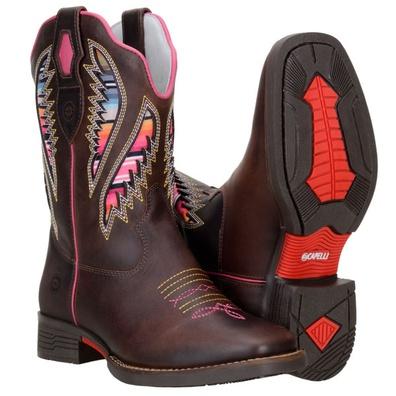 Bota Texana Feminina Country Bico Quadrado com Las... - JMCOUNTRY