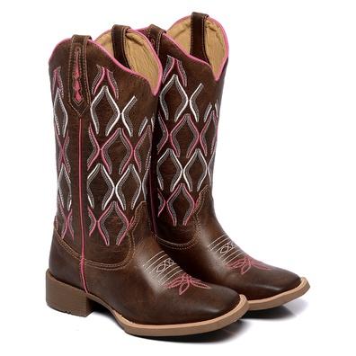 Bota Texana Feminina Bico Quadrado Country Couro D... - JMCOUNTRY