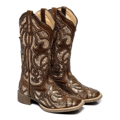 Bota Texana Feminina Bico Quadrado Laser Couro Leg... - JMCOUNTRY