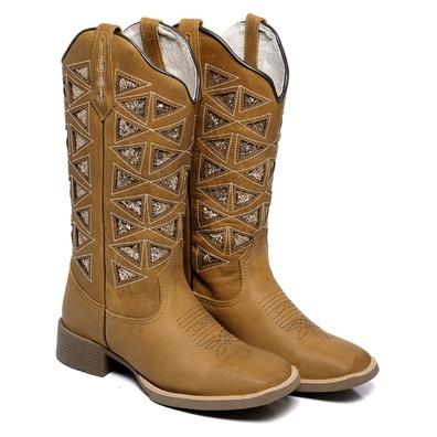 Bota Texana Feminina Country Bico Quadrado Couro C... - JMCOUNTRY