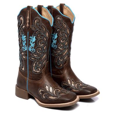 Bota Texana Feminina Country Bico Quadrado Couro K... - JMCOUNTRY