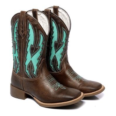 Bota Texana Masculina Bico Quadrado Couro Kizar Ca... - JMCOUNTRY