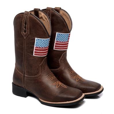Bota Texana Masculina Bico Quadrado EUA Couro Fóss... - JMCOUNTRY