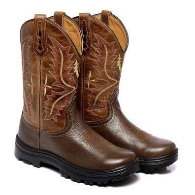 Bota Texana Masculina Bico Redondo Couro Floater C... - JMCOUNTRY