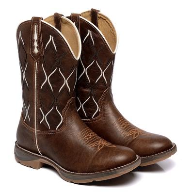 Bota Texana Masculina Bico Redondo Couro Kizar Caf... - JMCOUNTRY