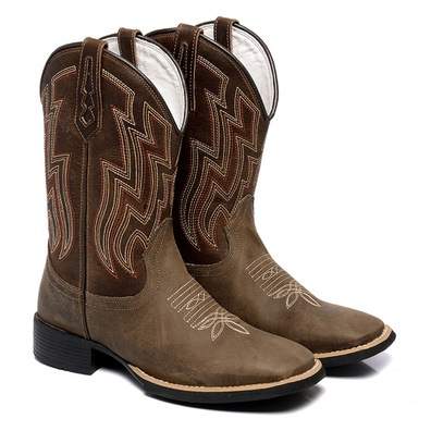 Bota Texana Masculina Country Bico Quadrado Couro ... - JMCOUNTRY