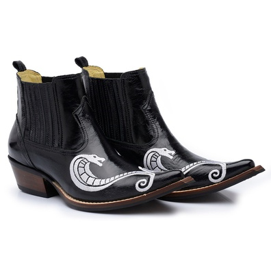 Bota Country Masculina Cano Curto Couro Mustang Pr... - JMCOUNTRY