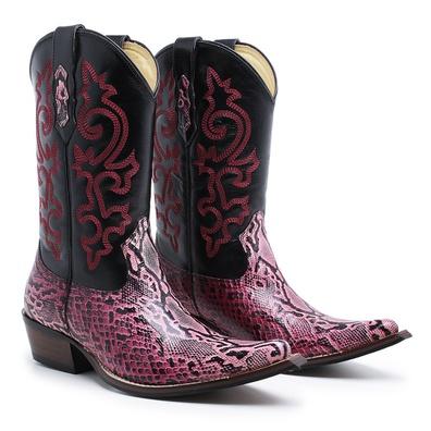 Bota Country Texana Bico Fino Réplica Píton Rosa e... - JMCOUNTRY