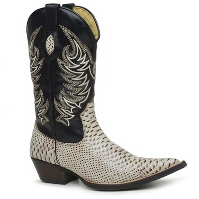 Bota Country Texana Masculina Bico Fino Anaconda E... - JMCOUNTRY