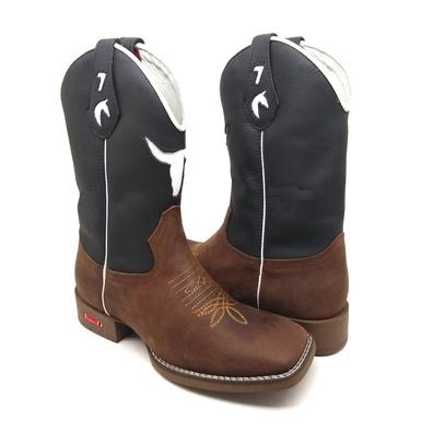 Bota Country Texana Masculina Bico Quadrado Touro ... - JMCOUNTRY