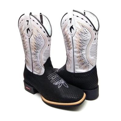 Bota Masculina Texana Bico Quadrado Couro Tela Pre... - JMCOUNTRY