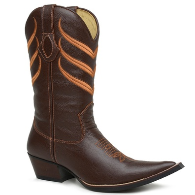 Bota Texana Bico Fino Country Masculina Couro Atla... - JMCOUNTRY