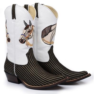 Bota Texana Masculina Bico Fino Couro Nobuck Plati... - JMCOUNTRY