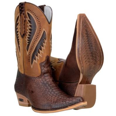 Bota Texana Masculina Bico Fino Laser Couro Anacon... - JMCOUNTRY
