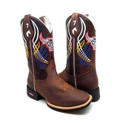 Bota Texana Masculina Bico Quadrado Touro Couro Ca... - JMCOUNTRY