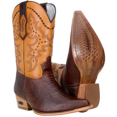 Bota Texana Masculina Western Bico Fino Couro Mamu... - JMCOUNTRY