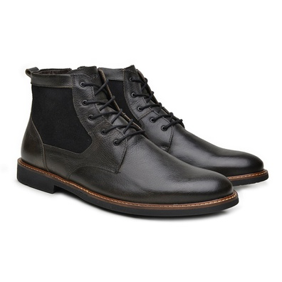 Coturno Social Masculino Couro Floater Preto - CMS - JMCOUNTRY