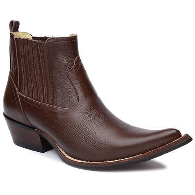 Botina Country Masculina Couro Floater Chocolate -... - JMCOUNTRY