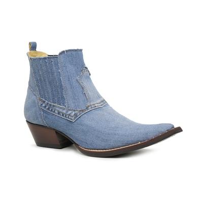 Botina Country Masculina Bico Fino Jeans Claro - 4... - JMCOUNTRY