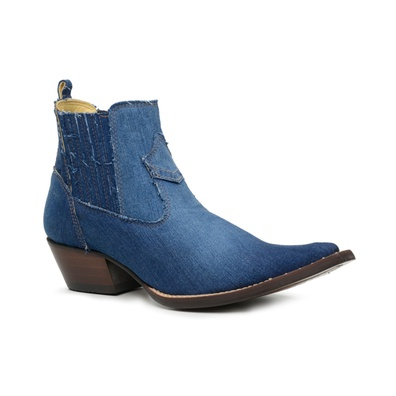 Botina Country Masculina Bico Fino Jeans Escuro - ... - JMCOUNTRY