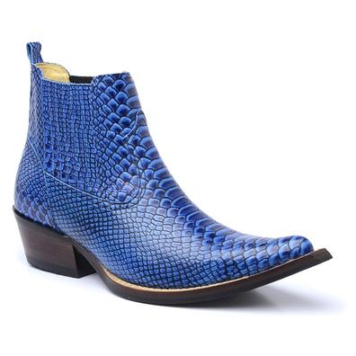 Botina Country Masculina Couro Anaconda Azul - 450... - JMCOUNTRY