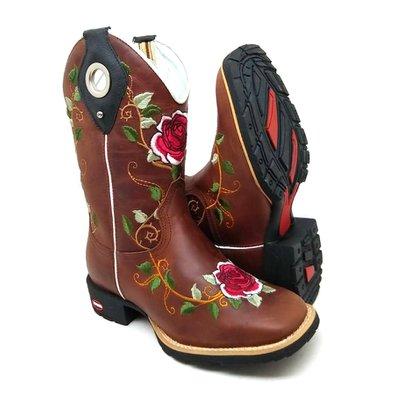 387d6d9da1 Bota Country Texana Feminina Bico Quadrado Couro C..