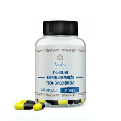 PrÉ Treino - Energia, Disposição, Foco e Concentração (cafeína + Teacrine + Piperine + Niacinamida) - 30 Doses