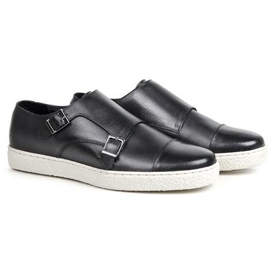 Sapato Casual em Couro Preto - Cannes - CLUBE DO HOMEM Calçados e Acessórios Masculino