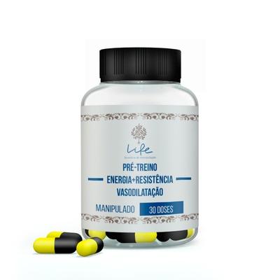 PrÉ Treino - Energia, Resistência e Vasodilatação (cafeína + Capsiate +beta Alanina + Arginina Akg+Niacinamida) - 30 Doses