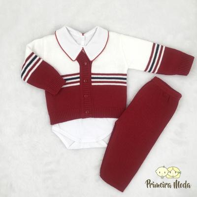 Conjunto em Tricot Listrado Vermelho - 1338 - Primeira Moda