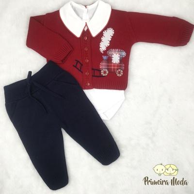Conjunto em Tricot Trenzinho Vermelho - 1339 - Primeira Moda