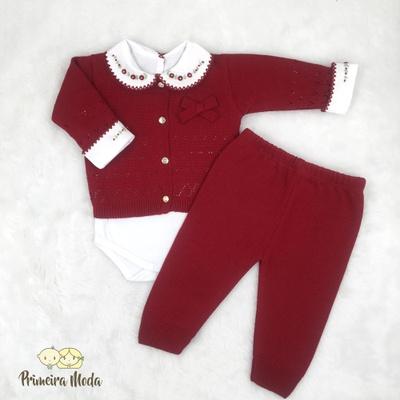 Conjunto em Tricot Laço Vermelho - 1341 - Primeira Moda