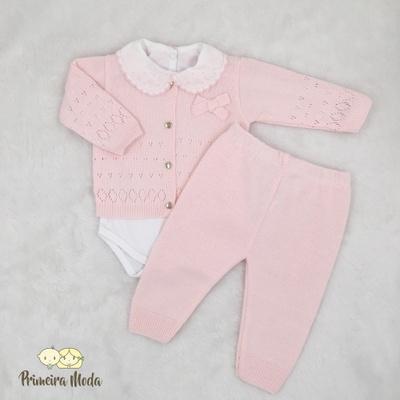 Conjunto em Tricot Laço Rosa - 1342 - Primeira Moda