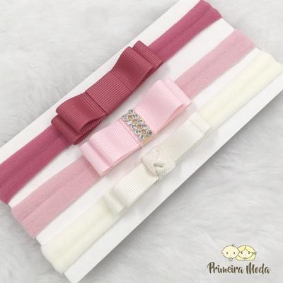 Kit Faixa para bebê Triplo Chanel Rosa - 1313 - Primeira Moda