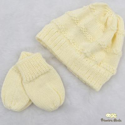 Kit Touca e Luva Tricot Amarelo - 0001 - Primeira Moda