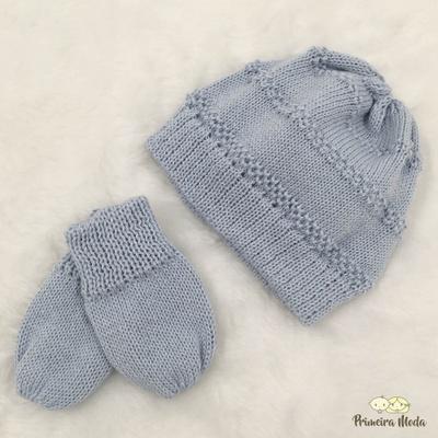Kit Touca e Luva Tricot Azul Bebê - 0007 - Primeira Moda