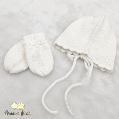 Kit Touca e Luva Tricot Camponesa Branco - 1430 - Primeira Moda