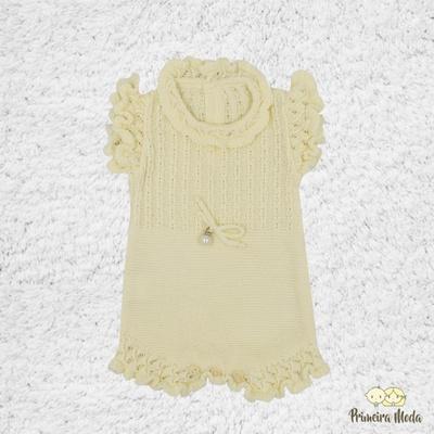 Romper de Tricot Amarelo - 1154 - Primeira Moda